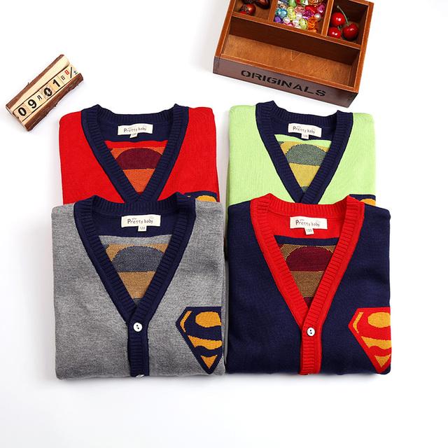 Moda Meninos Camisolas Outono e Inverno Crianças Superman V-gola Dupla Outerwear Algodão Grosso Camisola de Malha Casaco Cardigan Bebê
