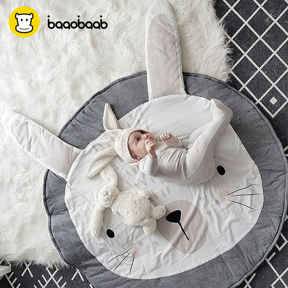 BAAOBAAB PXD14 90CM Infant Newborn Toddler Baby Play Game Mats Round Carpet Rugs Cotton Cute Pattern Activity Blanket Unicorn