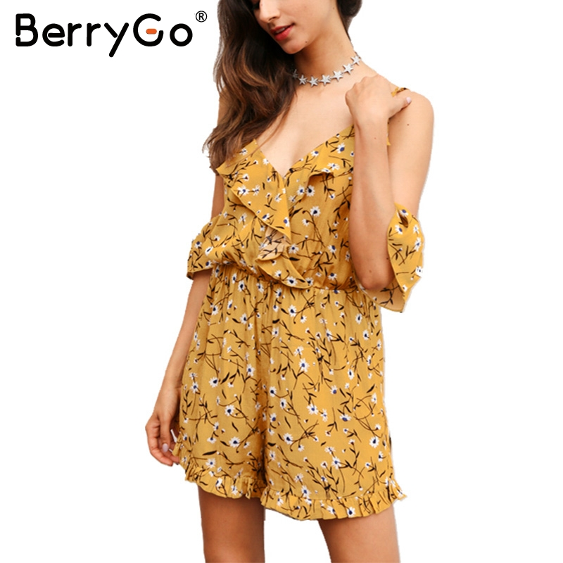BerryGo Ruffles print rompers womens jumpsuit Sexy v neck cold shoulder overalls Summer streetwear beach party playsuits