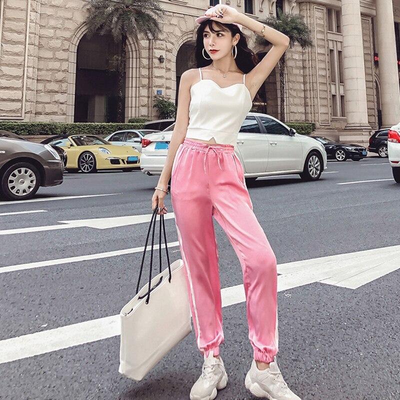 Women's Clothing New Summer Strapless Sleeveless spaghetti strap Vest crop tops+Side Stripe Harem Pants Streetwear Women's Sets 2