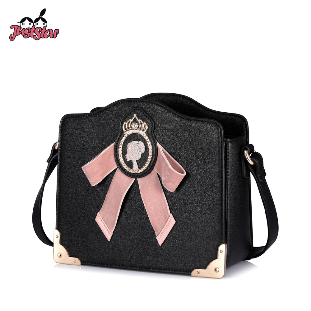 JUST STAR Brand Women s Leather Messenger Bags Ladies Bow Shoulder Purse  Female Embroidery Flap Crossbody Bags a52dbdcf4389a