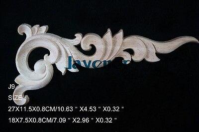 J9- 18x7.5x0.8cm Wood Carved Corner Onlay Applique Unpainted Frame Door Decal Working Carpenter Decoration