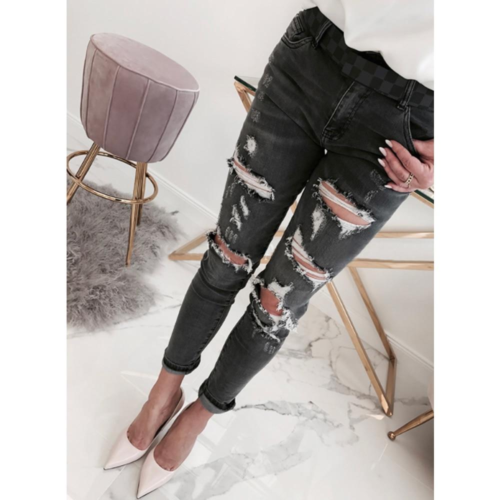 Jeans   Woman Casual Washed Mid Waist Hole Ripped   Jeans   for Women Streetwear Fashion Slim Skinny   Jeans   Women   jean   femme H40