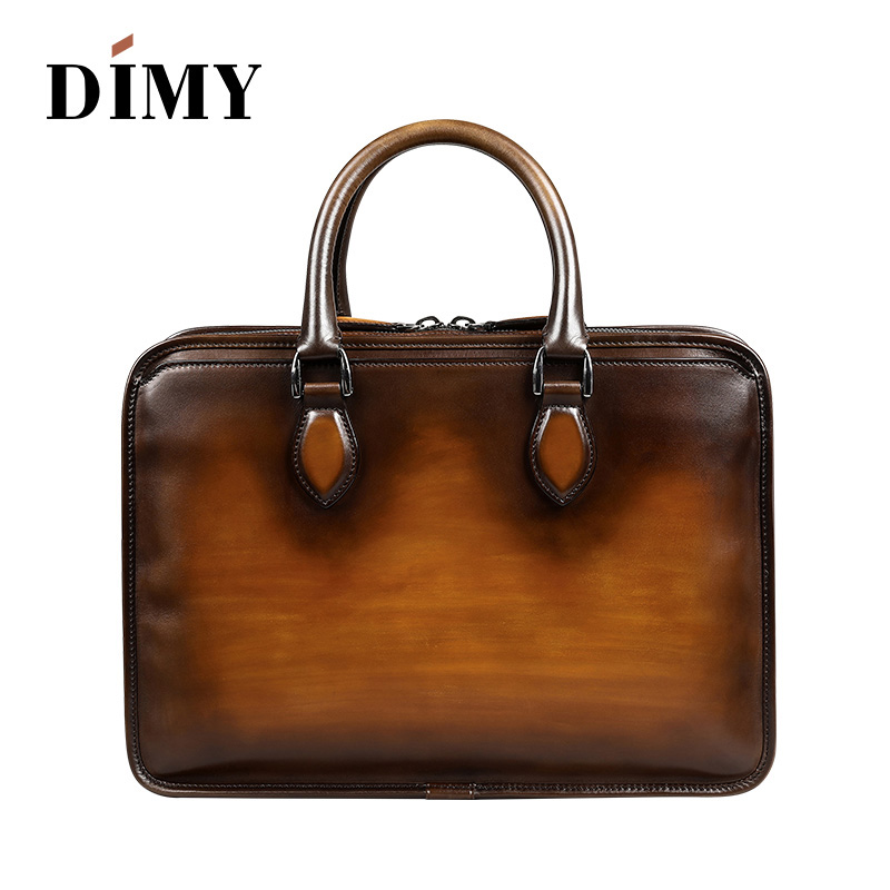 Newest Wholesale Price Men Business Briefcase Handmade Venezin Cow Leather  Handbag Shoulder Bag Italian laptop bag Dropshipping -in Briefcases from  Luggage ... 2411ac940d