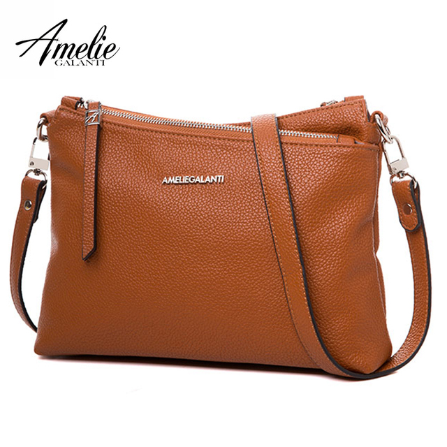 AMELIE GALANTI Fashion Women Leather Bag Interior Cell Phone Pockets Solid Luxury Women Handbags Casual Crossbody Shoulder Bag