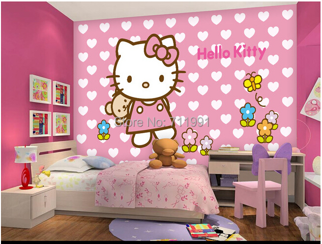 Custom Baby Cartoon Kitty Pink Wallpaper For Children S Room Living Room Bedroom Background Wallpaper 3d Mural
