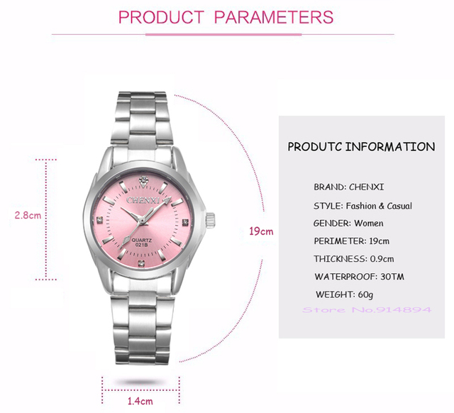 5 Fashion colors CHENXI CX021B Brand relogio Luxury Women's Casual watches waterproof watch women fashion Dress Rhinestone watch 2