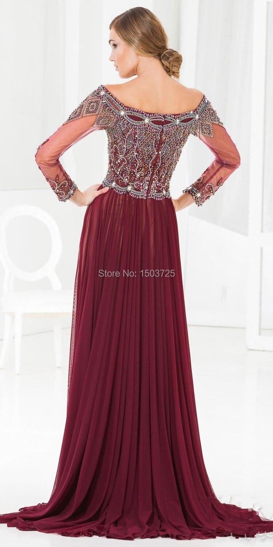 Hot Sale Prom Dresses Sheath Bateau Neckline Full Sleeve Ruffle ...