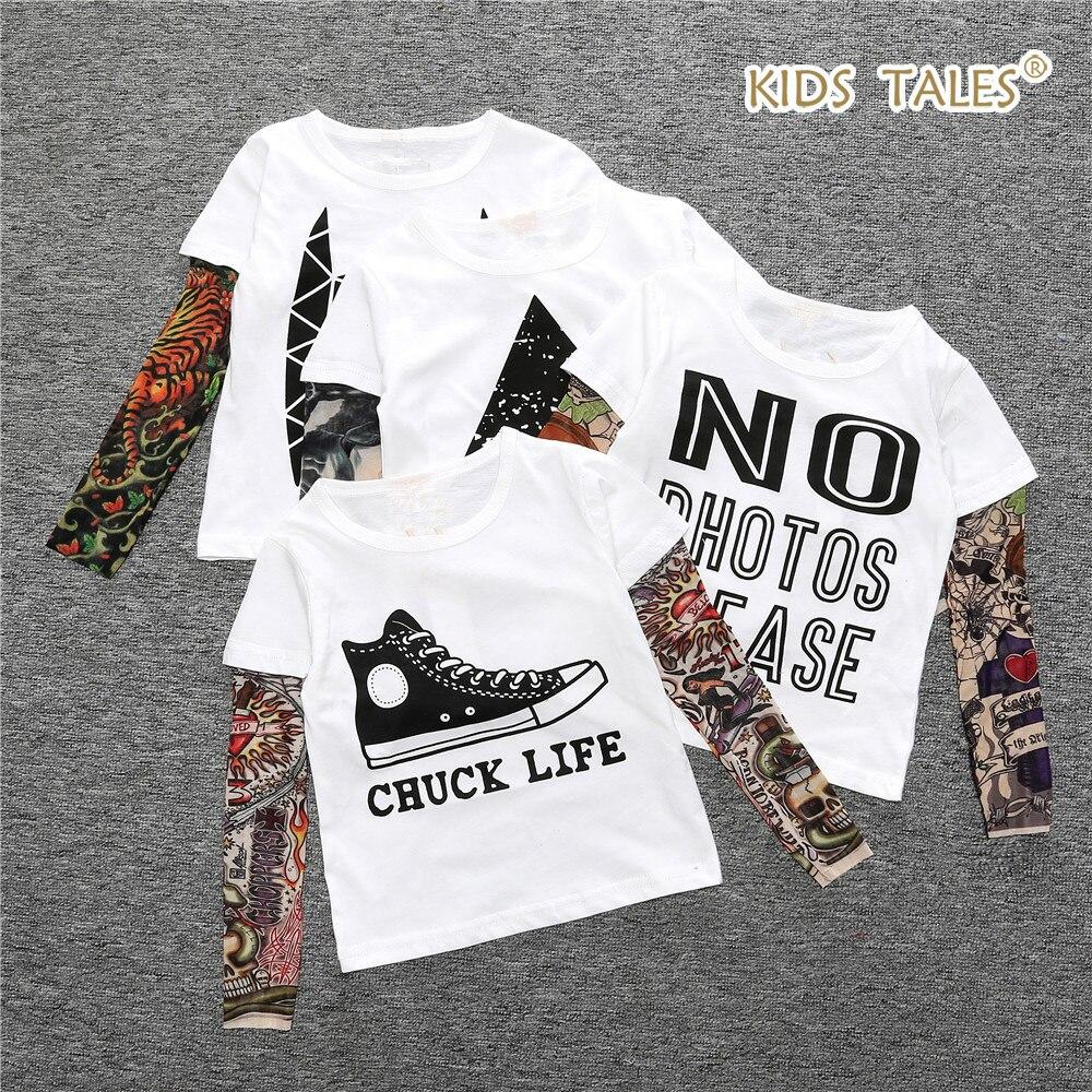 2017 Hip-hop Boys Girls Cool Cartoon Print Tattoo Sleeve T shirt Children Kids Clothes Boys T-shirt Splicing Body Art Clothing t art блузка