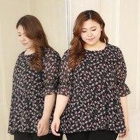Plus Size 10XL 9XL 8XL 4XL Floral Print Women Chiffon Blouse Half Sleeves O neck Casual Tops For Women Tunic Blusas Shirt
