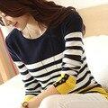 Primavera Outono Nova Moda Tarja camisas de T Das Mulheres T Camisa O Pescoço Tops de Manga Longa Magro da Mulher Roupas camisetas t Das Senhoras