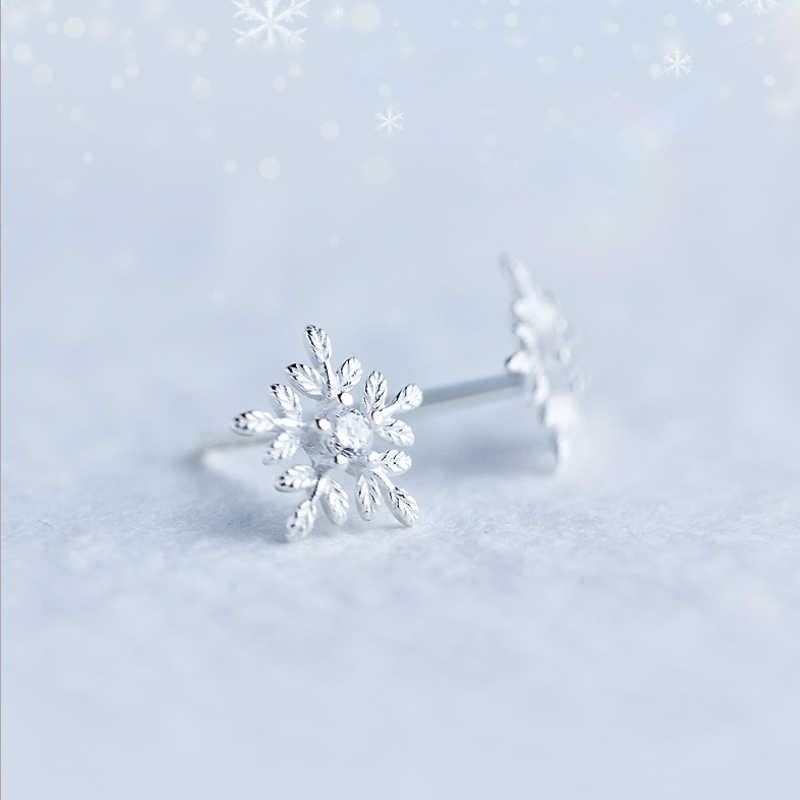 100% ของแข็ง 925 เงินแท้เกล็ดหิมะสวยต่างหูจี้ Choker สร้อยคอผู้หญิงเครื่องประดับ