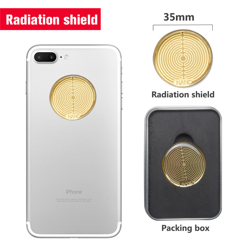 5pcs/lot Powerful Energy Round Golden Sticker High Negative Ions Anti Radiation Against EMF Scalar Shield