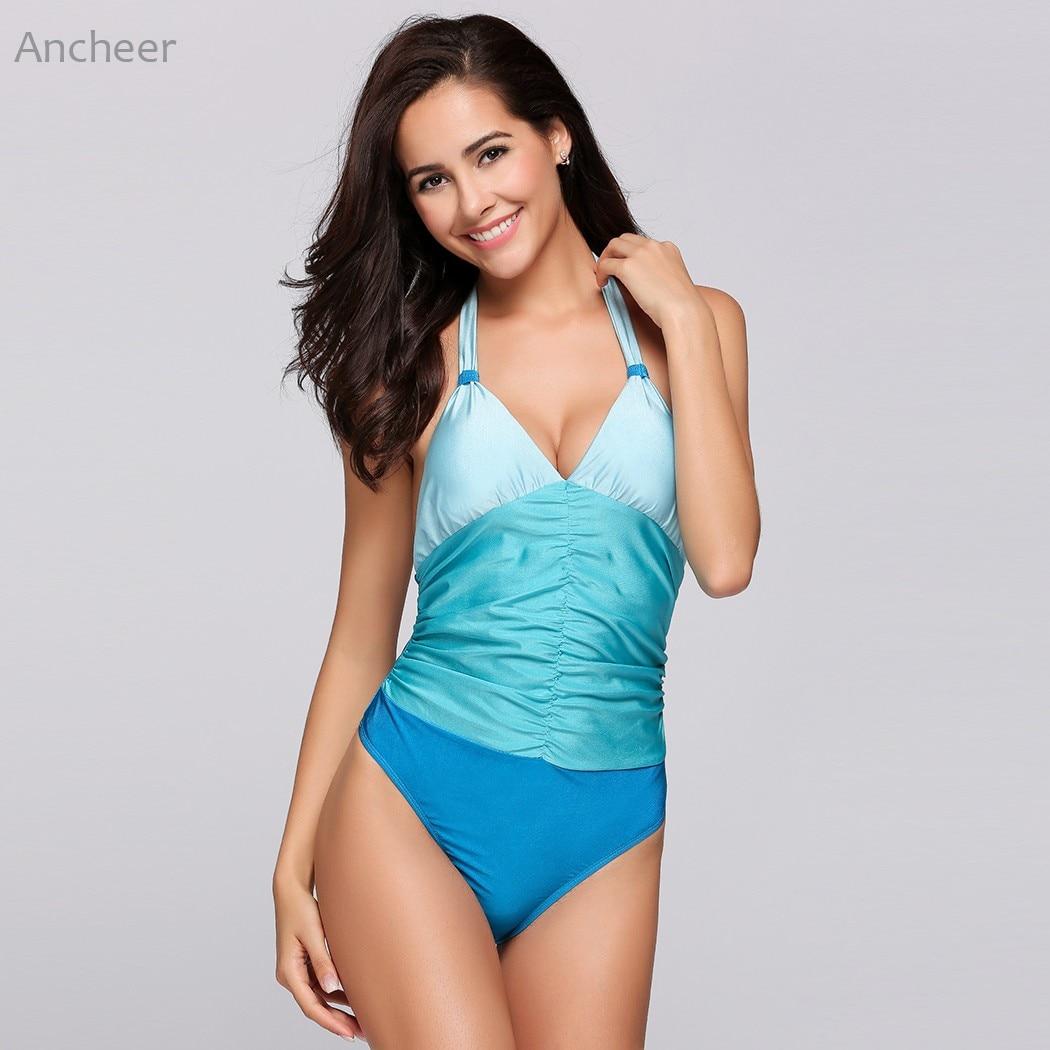 Brand New Bikini swimsuit women sexy Halter Backless Ruched Contrast Color One Piece Bikini set Swimwear Beachwear bathing