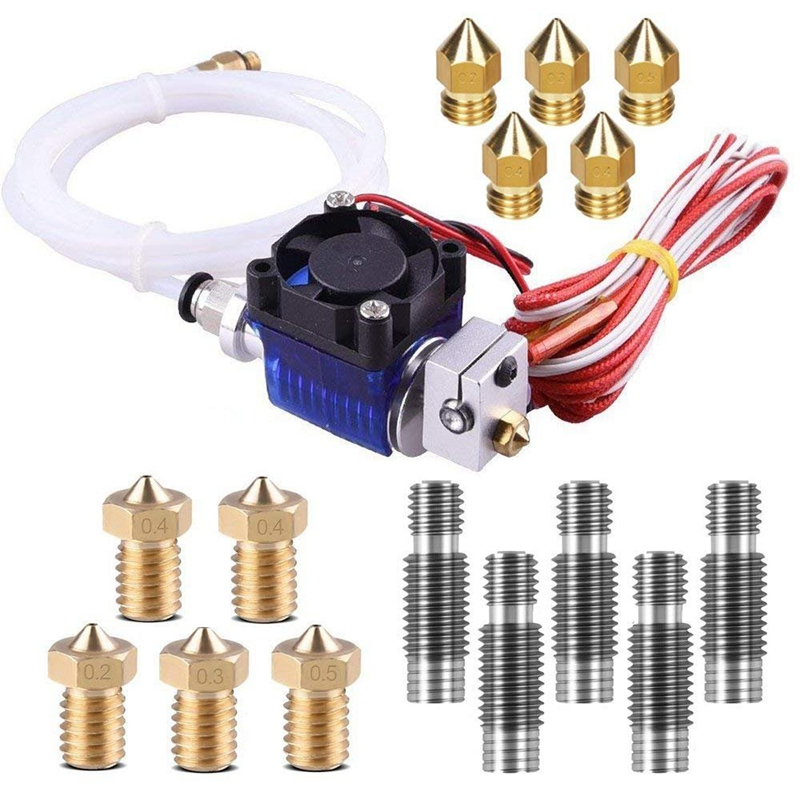 V6 J-Head Hotend Full Kit With 10Pcs Extruder Print Head + 5Pcs Stainless Steel 1.75Mm Nozzle Throat For E3D V6 Makerbot Repra