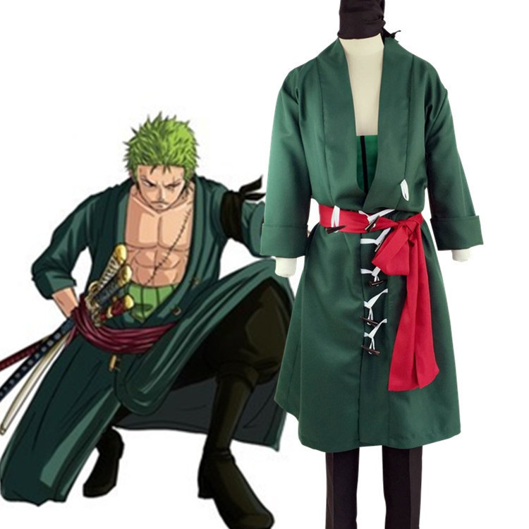 Anime One Piece Roronoa Zoro cosplay costume Clothes + pants + belt + Girdle + Headscarf
