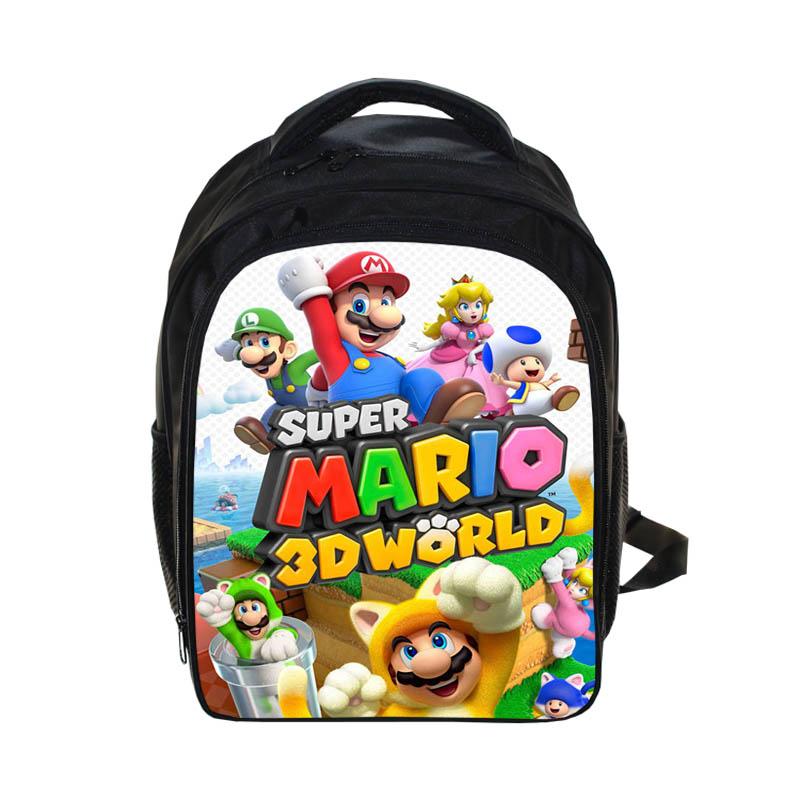 13 Inch Cartoon Super Mario Bros Sonic Boom Kids Backpack Kindergarten School Bag Children Printing Backpack Girls Boys Mochila