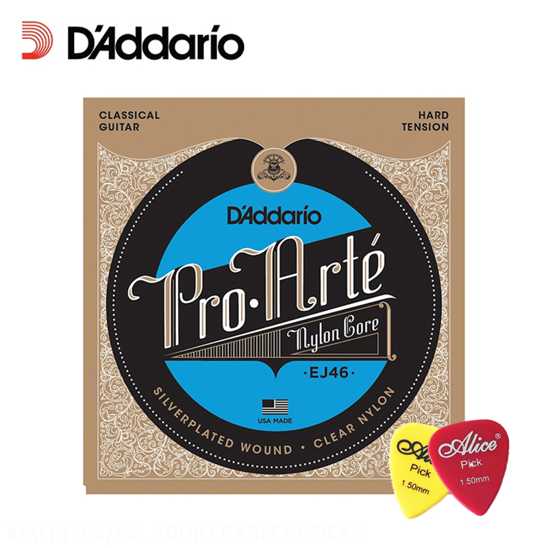 D'Addario EJ46 Pro-Arte Nylon Classical Guitar Strings, Hard Tension, .0285-.044 Daddario Guitar Strings original savarez 500cj classical guitar strings full set nylon strings high tension free shipping