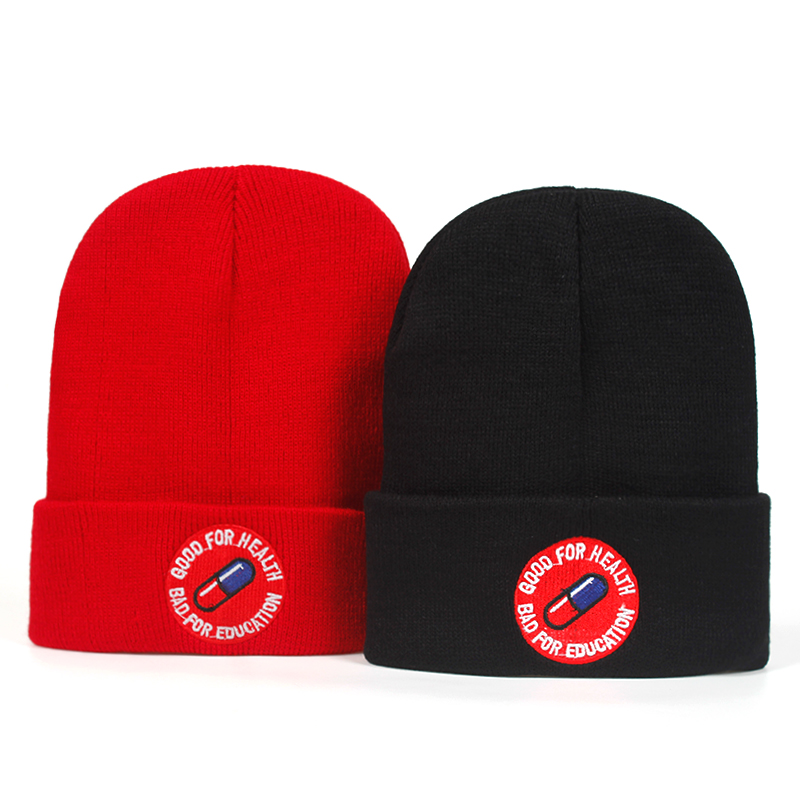 High Quality bad for education good for health Casual Beanies Men Women Knitted Winter Hat Hip-hop Skullies Hat