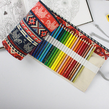 Pencil Wrap  36/48/72 Holes Portable Canvas Roll Up Elephant Pen Case Students Stationary Pouch For Painting School Supplies