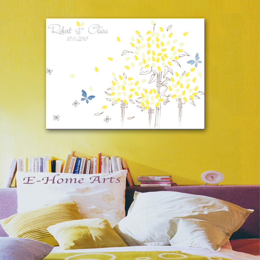fingerprint tree signature canvas painting butterflies wedding gift wedding decoration party gift include 6ink colors
