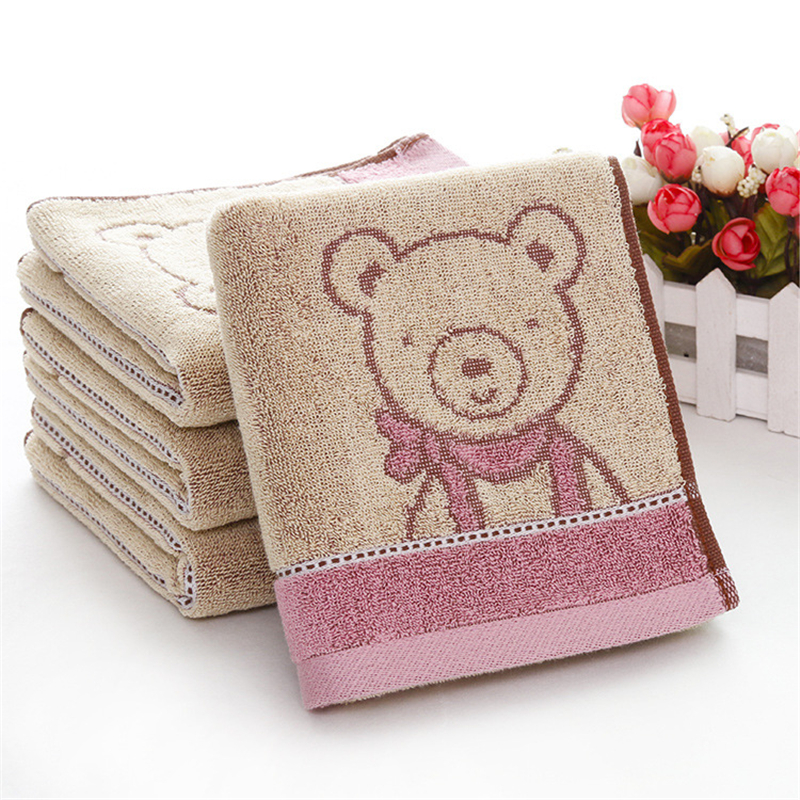 2 Pcs Baby Face Towel Cute Cartoon Bear Pattern Newborn 100% Cotton Washcloths Bath Shower Body Hand Wiping Cloths Towels