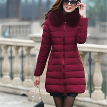 Women's Winter Plus Size Long Down Jacket Hat Female Winter