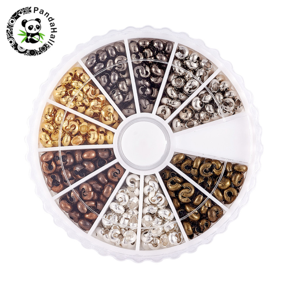 3mm Crimp Beads Covers Jewelry Findings For DIY Necklace Earring Bracelets Making Mixed 6 Colors 590pcs/box Hole: 1.5~1.8mm