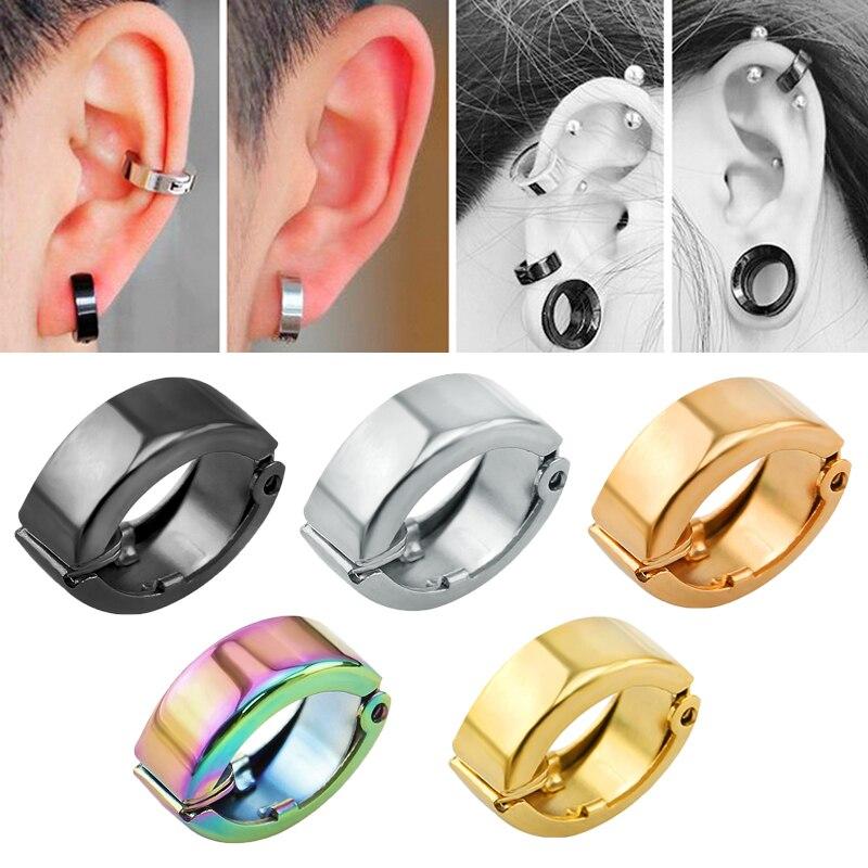 f66689688 حار الأزياء الأذن كليب الأقراط المقاوم للصدأ لا مثقوب الأذن كليب القرط  الأقراط وهمية ثقب الأذن الكفة الشرير النساء الرجال مجوهرات