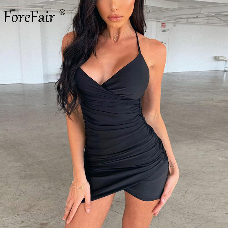 Forefair <font><b>Sexy</b></font> <font><b>Short</b></font> Mini <font><b>Dress</b></font> Women Summer Cross Tied Spaghetti Strap Ruched Backless White <font><b>Red</b></font> Black Night Club Bodycon <font><b>Dress</b></font> image