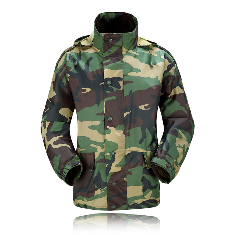 Camouflage Raincoat Rainpants Thickened Adult Men and Women Split Riding Raincoat Rain Pants Suit Motorcycle Suit