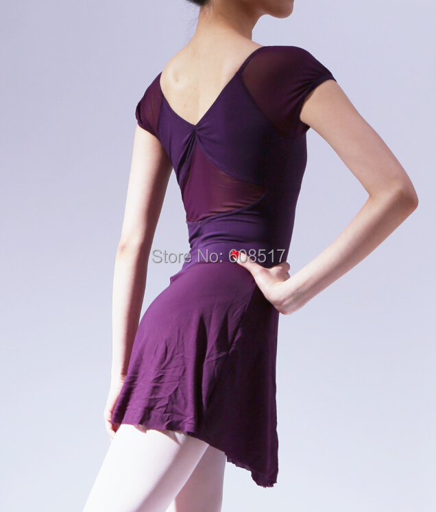 Short sleeved dress Hubble bubble sleeve back hole adult female ballet dress leotard gymnastics clothing letoard <font><b>dance</b></font> costume image