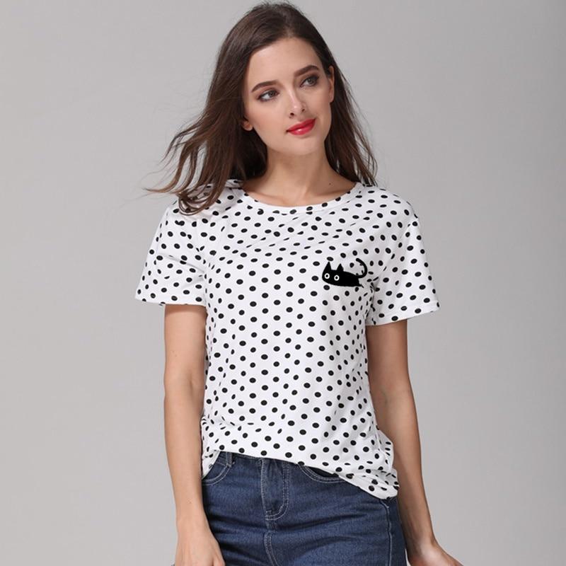 Cute Black Cat Print T Shirt Casual Harajuku O neck Women T shirt 2018 New Design