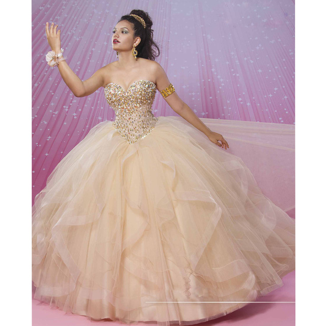 b33a61fc6 Champagne Quinceanera Dresses 2017 Vestidos De 15 Anos Ball Gown Beads  Ruffle Organza Puffy Formal Plus Size Sweet 16 Dress