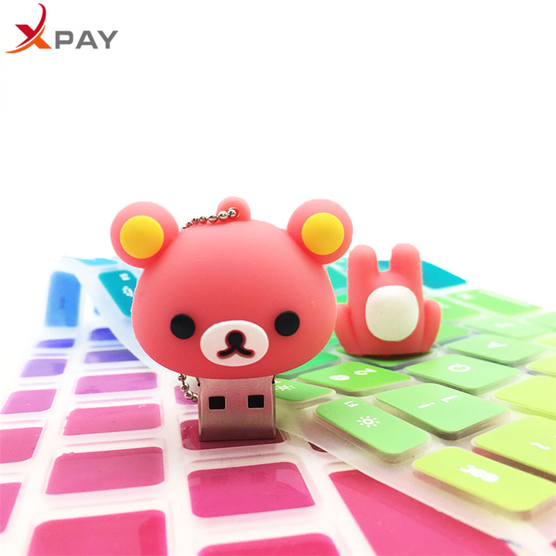 Image 2 - Cartoon Bear USB Flash Drive 2.0 Pen Drive 64GB 128GB Pendrive flash disk real capacity 4GB 8GB 16GB 32GB Silicone free shippin-in USB Flash Drives from Computer & Office