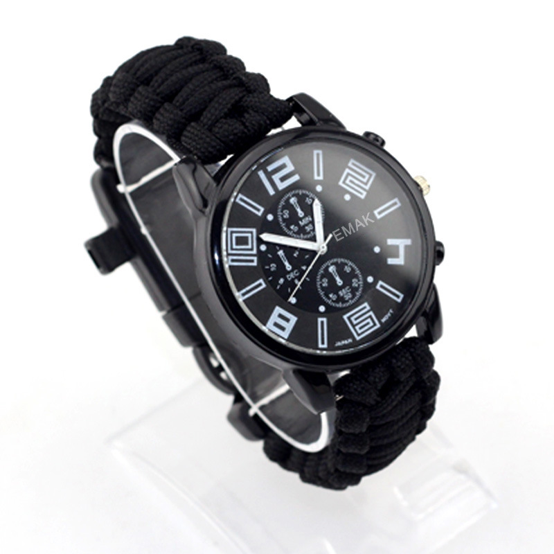 EMAK Outdoor Camping Survival Watch Multi-functional Waterproof Compass Rescue Rope Paracord Bracelet Equipment Tool