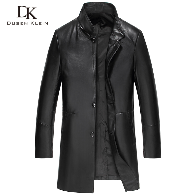 Dusen Klein Men Genuine Leather Jacket Spring Long Black/Slim/Simple Business Style/Sheepskin Coat black 61B1622