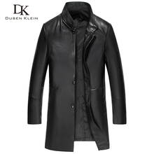 2016 Arrival Brand Men Genuine Leather Jacket Spring Long Black/Slim/Simple Business Style/Sheepskin Coat 61Q15806