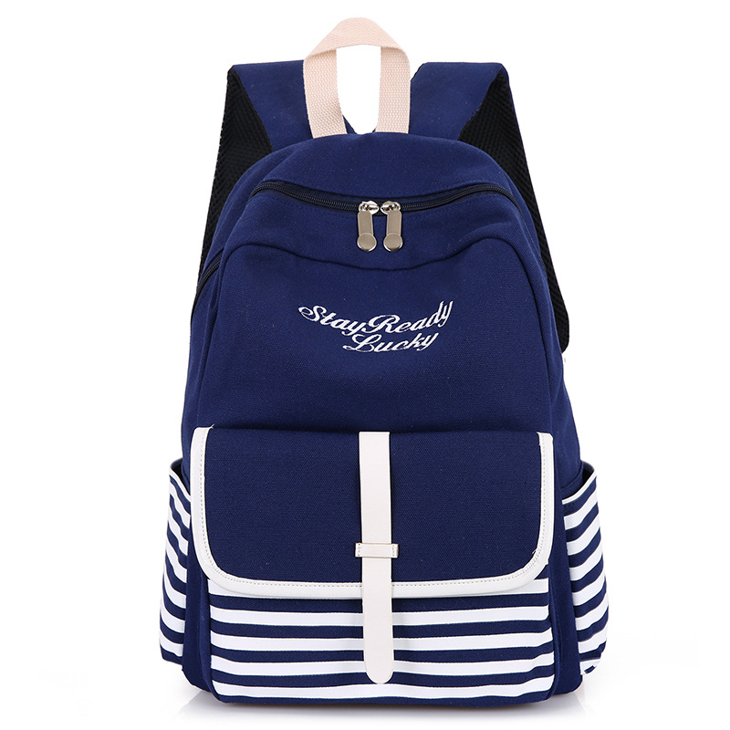 RUIPAI High school student Backpack College Wind Shoulder Bag Girls Canvas Stripe Backpack Practical Schoolbag Female Bag pack