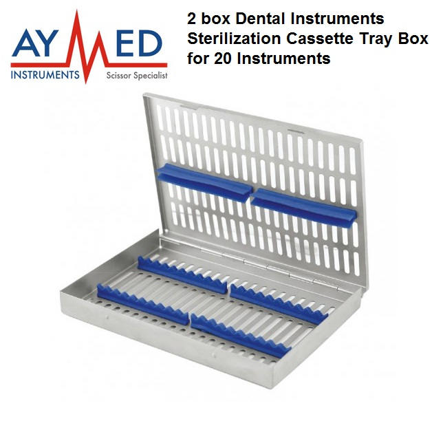 2 box Trays Dental instruments Sterilization Cassette Rack Tray Box for 20 Surgical Instruments - scissors new dental implant bur drill tool sterilization cassette kit organizer box tray