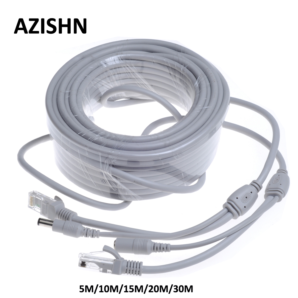 CCTV CAT5/CAT-5e 5M/10M/15M/20M/30M Ethernet Cable RJ45 + DC Power CCTV network Lan Cable For NVR System IP Cameras 50ft 15m rj45 cat5 cat5e ethernet internet lan network cord cable drop shipping