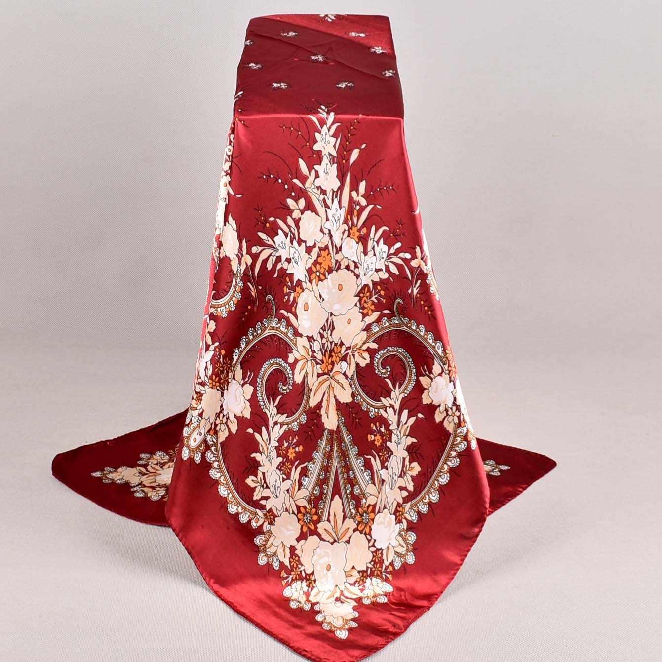 Rosso Sciarpa di Seta di 2019 Sciarpa Delle Donne, Stile Della Cina Raso Piazza Grande Sciarpa Stampata, ladies 'Marca Rayon Sciarpa di Seta, scialle di Modo 90*90cm