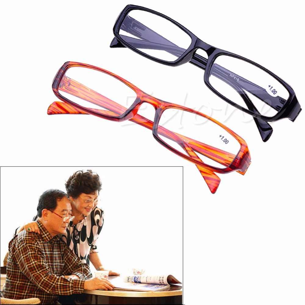 ร้อน 1 PC ผู้ชายผู้หญิงสีดำ/สีน้ำตาลเรซิ่นอ่านหนังสือสายตาสั้นสายตายาว + 1.00 1.50 2.00 2.50 3.00 3.50 4.00 Diopter