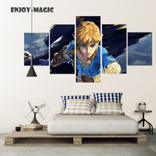 Home Decor Breath of The Wild Wall Art Canva No Frame Poster Modern 5 Pieces Oil Painting Animal Picture Panel HD Print  A-011