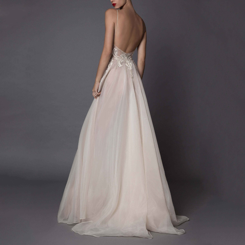Deep V-neck Tulle Open Back A-line Wedding Dress