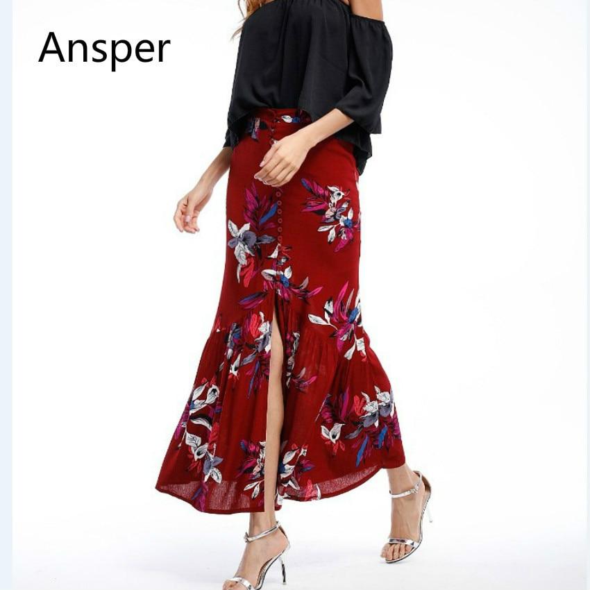 Vacation Boho Linen Floral Women Slit Long Skirt Ruffle Hem Lady Drap Fishtail Skirts Red Yellow