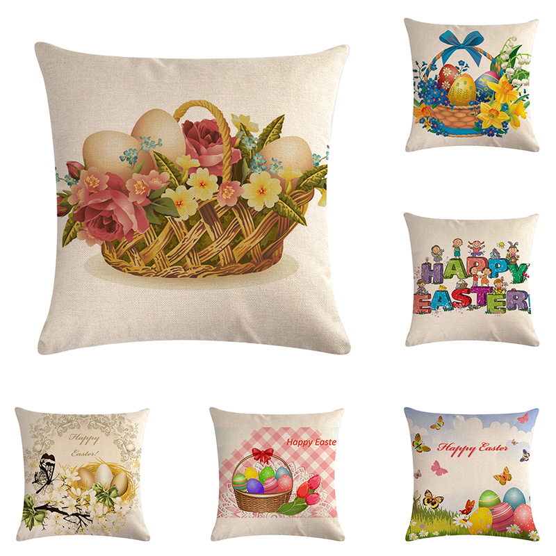 Home Textile Happy Easters Day Egg Pillow Cases 45x45cm Linen Blend Sofa Cushion Cover Home Decor Letter Pillow Case Zy884 Large Assortment