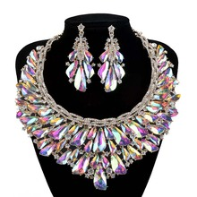 Luxury Bridal Jewelry Sets Gorgeous AB Crystal Gold Plated Necklace Earrings For Brides Party Prom Wedding Accessories