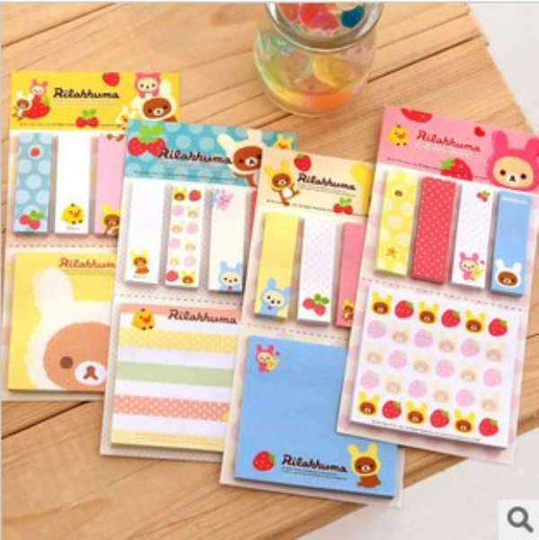 1Pcs New Kawarii Cartoon Rilakkuma Memo Notepad Note Book Memo Pad Sticky Notes Memo Set Gift Stationery H0395