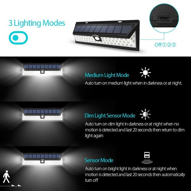 LITOM 54 LED 2 pic Solar Lights Waterproof Solar Lights with 120 Degree Wide Angle Motion Solar Light with 3 Modes for outdoor